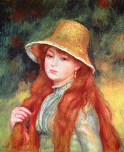 Young girl with long hair 1884 by Pierre Auguste Renoir
