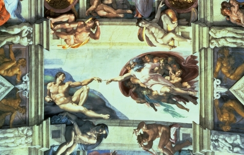 Sistine Chapel Ceiling: Creation of Adam, 1510 by Michelangelo