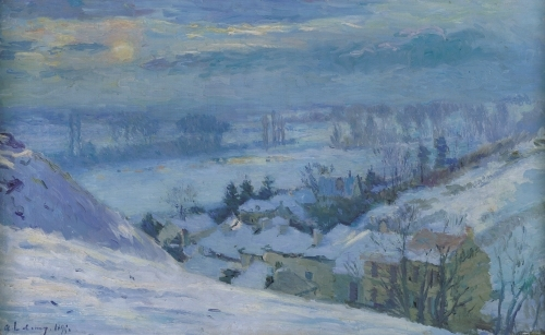 The Village of Herblay under snow, 1895 by Albert-Charles Lebourg