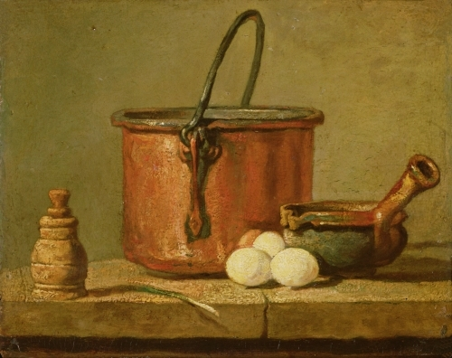 Still Life of Cooking Utensils, Cauldron, Frying Pan by Jean Baptiste Chardin