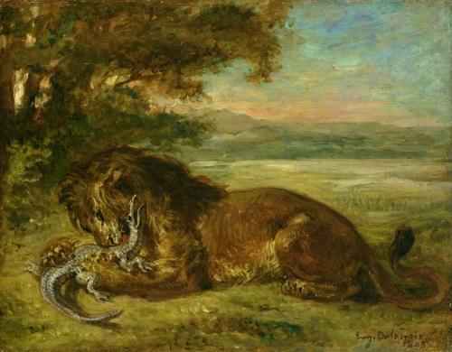 Lion and Alligator, 1863 by Ferdinand Victor Eugene Delacroix