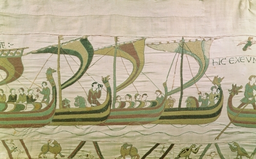 Duke William and his fleet, from the Bayeux Tapestry by English or French School