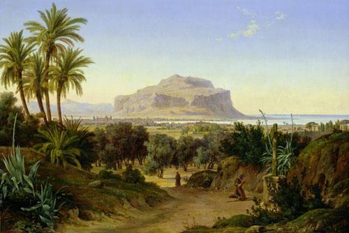 View of Palermo with Mount Pellegrino by August Wilhelm Julius Ahlborn