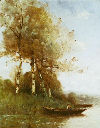 Morning Effect, Silver Birches and a River by Paul Desire Trouillebert