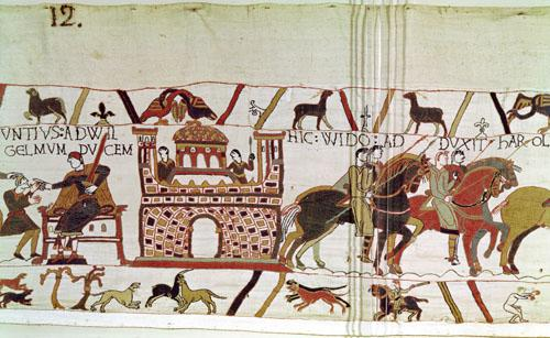 Count Guy takes Earl Harold to William, Duke of Normandy, detail from the Bayeux Tapestry by English or French School
