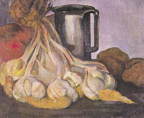 A Bunch of Garlic and a Pewter Tankard by Meyer Isaac de Haan