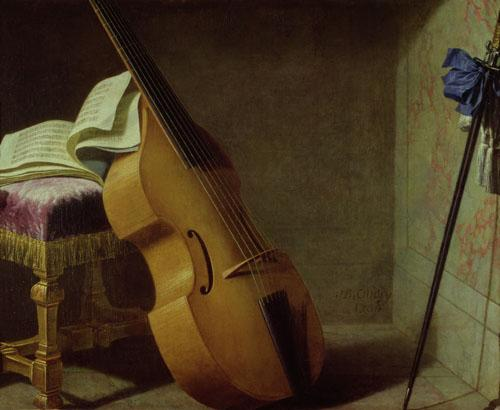 Double Bass, Score Sheet and a Sword, 1693 by Boyer