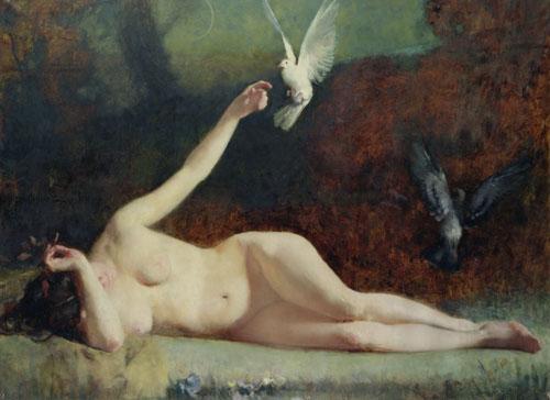 Woman with Pigeons, c.1883 by Ernst Philippe Zacharie