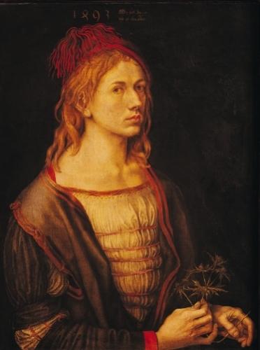 Self Portrait with a Thistle 1493 by Albrecht Dürer