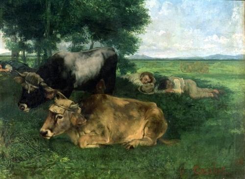 La Siesta Pendant la saison des foins 1867 by Gustave Courbet