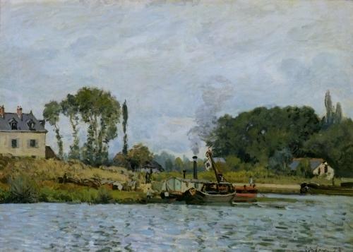 Boats at the lock at Bougival 1873 by Alfred Sisley