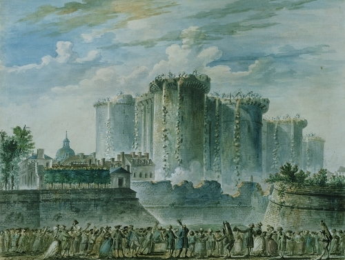 The Destruction of the Bastille 14th July 1789 by Jean-Pierre Houel