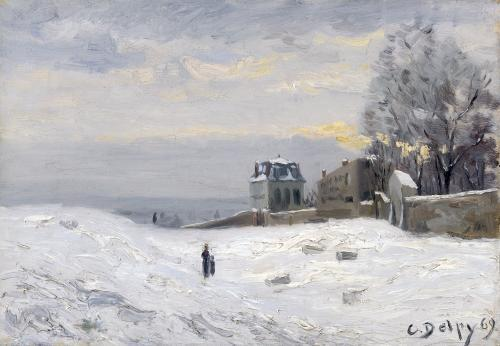 Snow at Montmartre 1869 by Hippolyte Camille Delpy