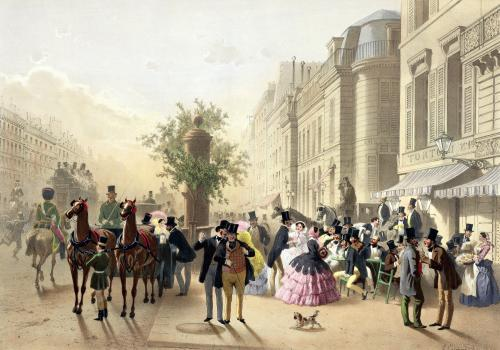 Boulevard des Italiens 1856 by Eugene Charles Francois Guerard