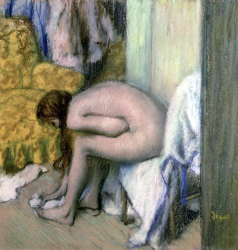 After the Bath Woman Drying her Left Foot 1886 by Edgar Degas