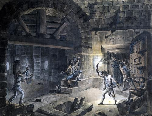 View of a cell in the Bastille releasing prisoners on 14th July 1789 by Jean-Pierre Houel