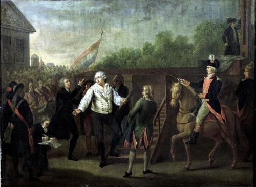 Louis XVI at the Foot of the Scaffold 1793 by Charles Benazech