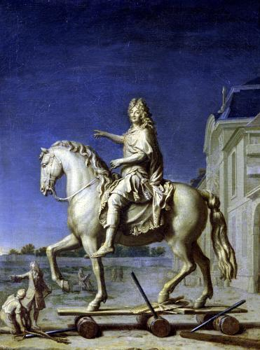 Transporting the Equestrian Statue of Louis XIV to the Place Vendome by Rene Antoine Houasse