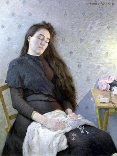 The Sleeping Flower Girl 1892 by Eugene Assezat de Bouteyre