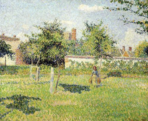 Woman in the Meadow at Eragny Spring 1887 by Camille Pissarro