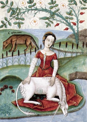 The young woman and the unicorn by M Platearius by Anonymous