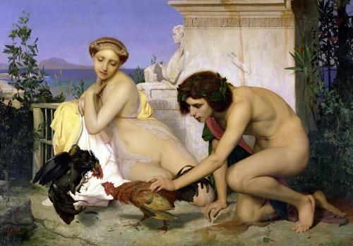 Young Greeks Encouraging Cocks to Fight 1846 by Jean-Leon Gerome