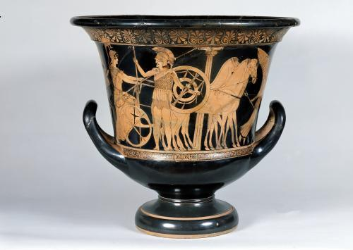 Attic red-figure kalyx krater depicting a Hoplite leaving for the war by Greece