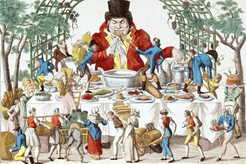 Gargantua at his Table by French School