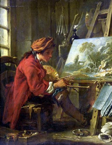 The Painter in his Studio by Francois Boucher
