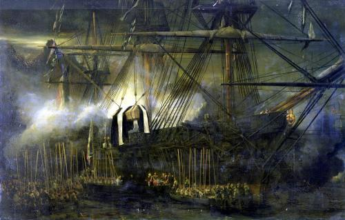 The Shipment of Napoleon's Ashes Aboard the 'Belle-Poule' at Saint Helena 1842 by Louis Eugene Gabriel Isabey