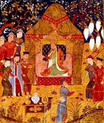 Genghis Khan in his tent by Rashid al-Din by Anonymous