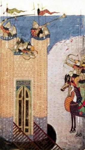 Mongols besieging a citadel c.1252 Persian by Persian School