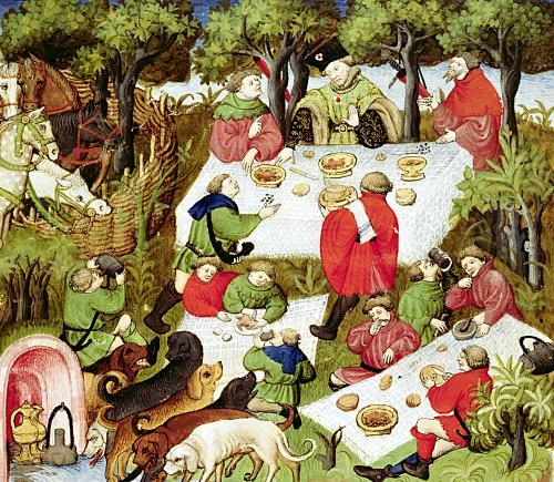 Hunters feasting before the stag hunt by French School