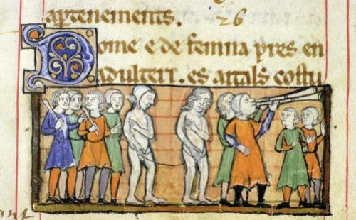 Punishment of two adulterers by nude procession through the town by Anonymous