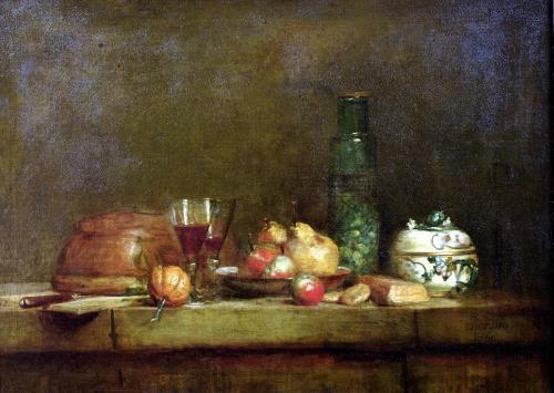 Still Life with a Bottle of Olives 1760 by Jean Baptiste Chardin