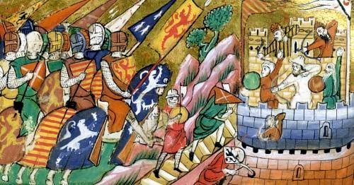 An English army attacking a castle by Anonymous