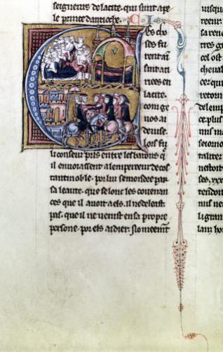 Illuminated initial 'C'; Incidents from the Crusades by Anonymous