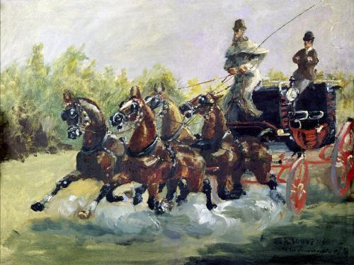 Toulouse-Lautrec-Monfa Driving his Mail-Coach in Nice 1881 by Henri de Toulouse-Lautrec
