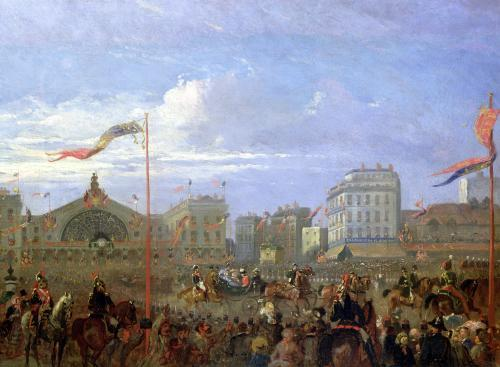Queen Victoria arriving at the Gare de l'Est 1855 by French School