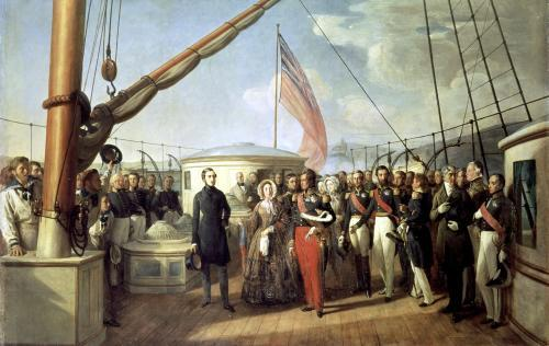 Meeting between Louis-Philippe I and Queen Victoria at Le Treport 1844 by Francois Auguste Biard
