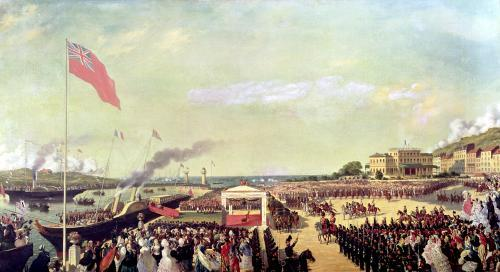 Napoleon III welcoming Queen Victoria at the Port of Boulogne 1856 by Louis Armand