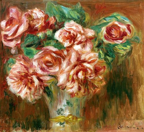 Roses in a Vase c.1890 by Pierre Auguste Renoir