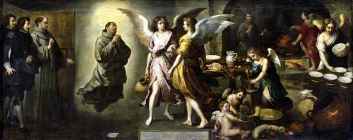 The Angels' Kitchen 1646 by Bartolomé Esteban Murillo