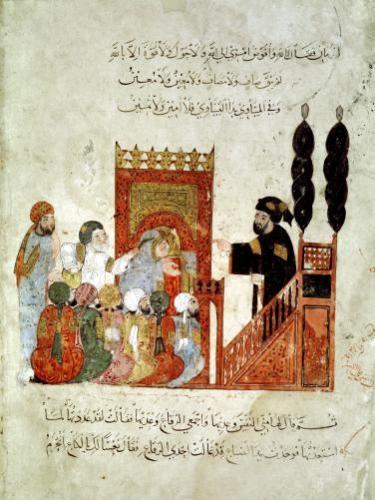 Abou Zayd preaching in the Mosque from 'Al Maqamat' by Al-Hariri by Persian School