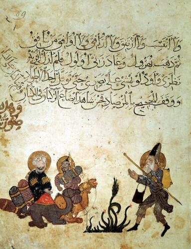 Abou Zayd meets some merchants mounting their camels from 'Al Maqamat' by Persian School