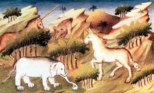 Mythical animals in the wilderness by Master Boucicaut