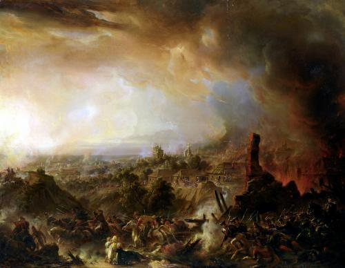 The Burning of Moscow 1854 by Jean Charles Langlois