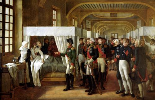Napoleon visiting the Infirmary of Invalides 1809 by Alexandre Veron Bellecourt