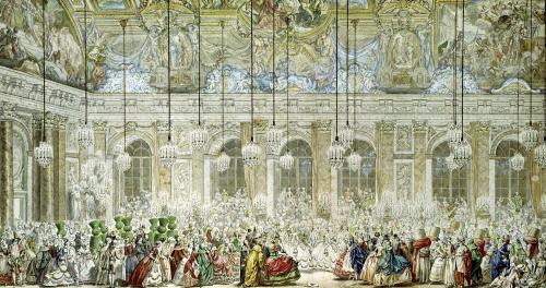 The Masked Ball at the Galerie des Glaces 1745 by Charles Nicolas Cochin