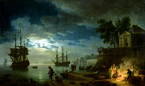 Night - A Port in the Moonlight 1748 by Claude Joseph Vernet